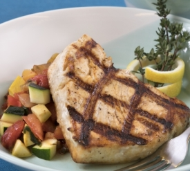 Grilled swordfish with ratatouille vegetables
